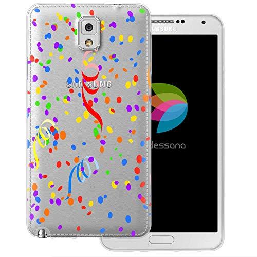 dessana Neujahr Silvester transparente Schutzhülle Handy Case Cover Tasche für Samsung Galaxy Note 3 Konfetti Luftschlangen