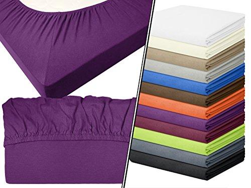 Lila Einzelbett (Jersey-Spannbetttuch in Top-Qualität - mit einer Steghöhe von ca. 35 cm - 100% Baumwolle - erhältlich in 6 verschiedenen Größen und 12 ausgesuchten Farben, 1 Stück - Jersey-Spannbetttuch ca. 90-100 x 200 cm, lila)