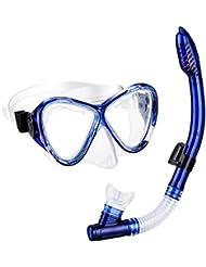 Schnorchelset, OMorc Premium Erwachsene Schnorchelset Tauchset mit 100% wasserdichte gehärtetem Glas Taucherbrille Tauchmaske und trockenem Schnorchel, Herren und Damen, Blau, Schwarz