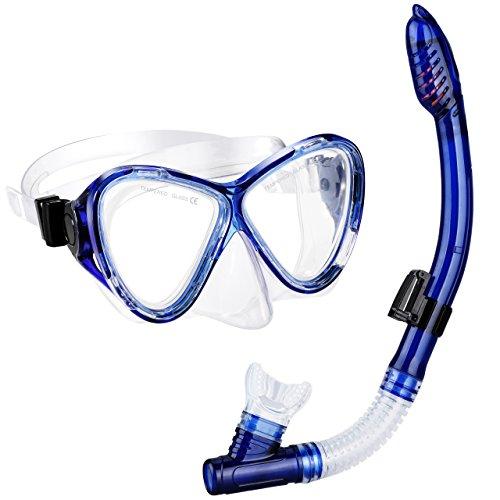 Schnorchelset, OMorc Premium Erwachsene Schnorchelset Tauchset mit 100% wasserdichte gehärtetem Glas Taucherbrille Tauchmaske und trockenem Schnorchel, Herren und Damen, Blau