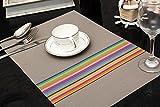 Tischset Platzset Clest F&H Rainbow stripes grau Platzmatte gewebt aus Kunststoff 45x30 cm(2er Set)