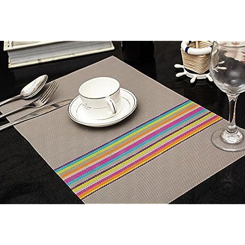 Clest F&H trenzado Rainbow stripes grey PVC Mantel individual / Salvamanteles para comedor , Juego de 2 piezas 45 x 30 cm