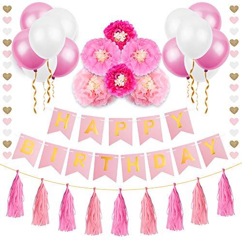 Geburtstag Deko | MOZOOSON Party Deko Geburtstag Girlande für Kinder Mädchen Zubehör Set mit 1 HAPPY BIRTHDAY Wimpelgirlande + 21 Ballons + 10 Quasten + 6 PapirBlumenball + 1 Schnur Herzen