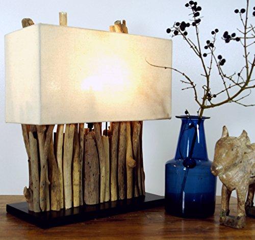 Guru-Shop Tischleuchte / Tischlampe Okawango, in Bali Handgemachtes Unikat aus Naturmaterial, Treibholz, Baumwolle - Modell Okawango, 40x35x16 cm, Dekolampe Stimmungsleuchte - Asiatische Tischleuchte