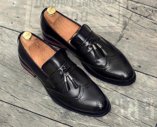 HYLM Bullock scarpe casual di business estate scarpe da sposa traspirante da uomo in pelle intagliata Black