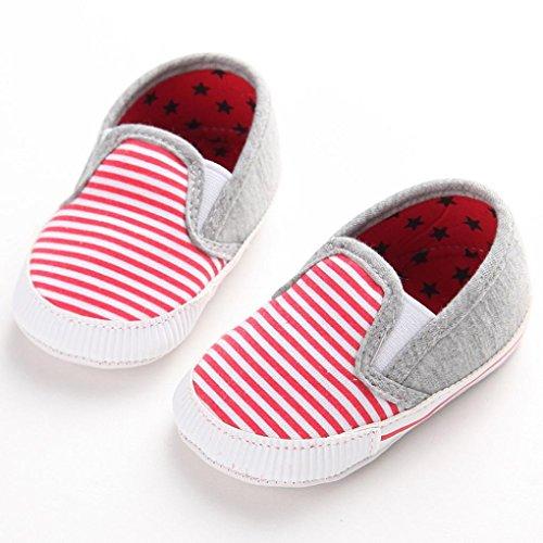 Chaussures de bébé Clode® Bébés garçons filles tout-petits rayures Sneakers Semelles souples antidérapants Chaussures de toile extérieure (6 ~ 12 Mois, Bleu) Rose