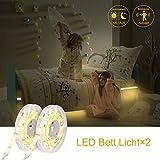 YISSVIC Bewegung Bett Licht Flexible LED Streifenlicht Auto Ein/Aus Bewegung aktivierte LED Lichtleiste 2*125cm