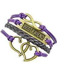 Sasavie Pulseras Tejido Trenza 1D Bracelet púrpura Bestfriend corazón infinito
