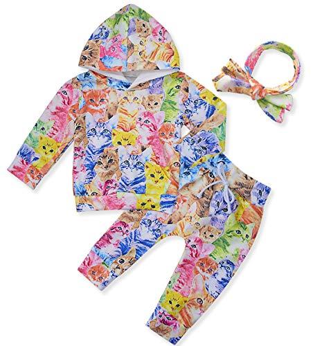 chicolife Girls Chándales, Sudadera con Capucha para niños Pantalones Deportivos Ropa de recién Nacidos para bebés, 2 Juegos con Estampado de Gatos de Colores, 0-3 Meses