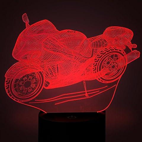 Motocicleta Ilusiones ópticas 3D Lámparas LED, FZAI Increíble 7 cambios de colores táctil botón noche luz de la noche con 150cm cable USB decoración del hogar