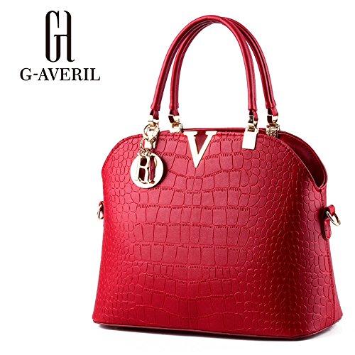 (G-AVERIL) Borsa A Tracolla Borse Donna Borsa Sacchetto In Pelle Cartella Sacchetti rosso