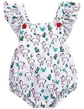 Baby Sommer Strampler Longra Baby Mädchen Ärmellos Bodys mit Schaf Druck Baby Neckholder Weiß Strampler Overall...