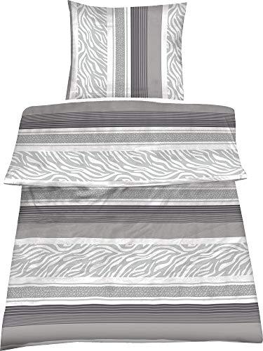 4-tlg.Sommer-, hauchdünne, kühlende Microfaser Bettwäsche grau/weiss 2x 135x200 Bettbezug + 2x 80x80 Kissenbezug mit Reißverschluss