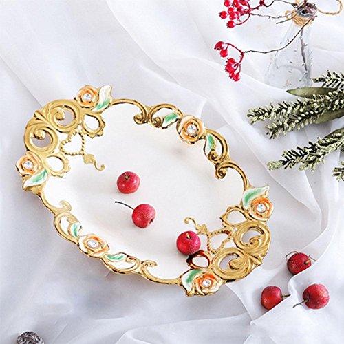 HUWAI Fruchtschale Fruchtplatte Keramik Material Durchmesser 39.5cm Gold und Silber, Gold