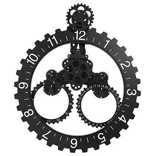 Caredy Drehrad-Uhr, Die Uhr,Moderne Wand-mechanische Kalender-Rad-Schwarz-Uhr der Wand-3D (Moderne Uhr Und Kalender)