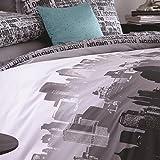 Catherine Lansfield Cityscape - Funda nórdica + funda de almohada para cama de 90 cm
