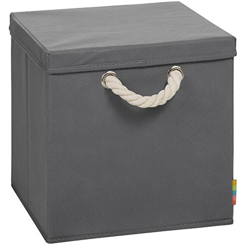 faltboxen stoff (Storanda) Aufbewahrungsbox LEO mit Deckel - Faltbox - Korb - 30x30x30 cm - (Anthrazit)