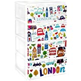 Gran plástico apilable Set de 4cajones con decorado IML infantil Londres, blanco, Set de 21