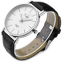 JS Direct 1x Fashion Dalas Men Women Simple Stlye Big 3 Hand PU Leather Quartz Wrist Watch, Black