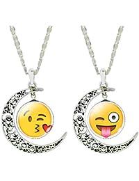 Jiayiqi Femmes Drôles Emoji Cabochon Collier Vintage Crescent Creux Collier Pendentif