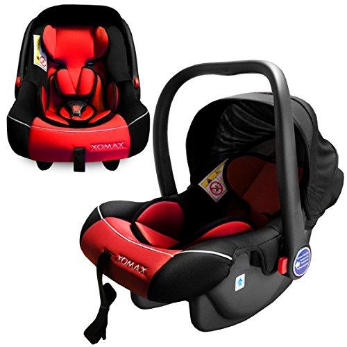 Preisvergleich Produktbild XOMAX XM-B04 RED Babyschale / Autokindersitz / Babyschaukel / Babywippe + Gruppe 0+ (0 - 13 kg / 0 - ca. 18 Monate) + ECE R44/04 geprüft + Farbe: rot / schwarz + Abnehmbares Sonnendach + Bezüge abnehmbar & waschbar + Gepolsterte Innenseite + 3-Punkte-Sicherheitsgurt + Tragegriff verstellbar