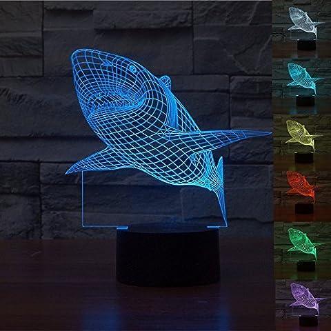 3D Lampe Optical Illusion Visuelle Led Night Light, Elsley Requin Incroyable 7 Couleurs Changement Tactile lumières de Commutation Sensible Avec Acrylique Plat, ABS Base de Plastique, Charge USB Pour Home Decor