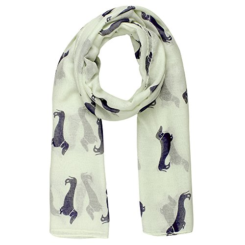 World of Shawls Mops Hund, Dackel, Spaniel Druck Schal, alle Jahreszeiten, schöner weicher Schal, Wraps, Schals Gr. 100 x 180, elfenbeinfarben/cremefarben