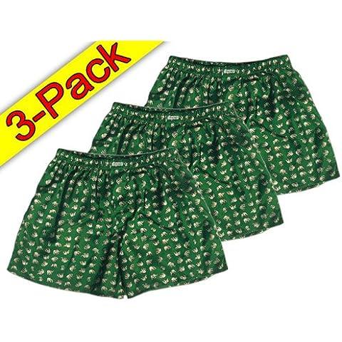 (L) colour verde y blanco 3er Pack nnow BOXER Calzoncillos para hombre pantalones cortos para hombre ropa interior de tela de satén brillante de tipo