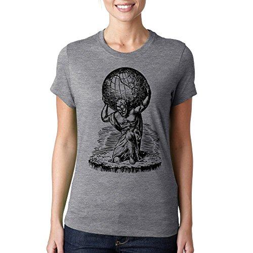 Ancient greek Atlas holding earth globe t-shirt femme coton Gris