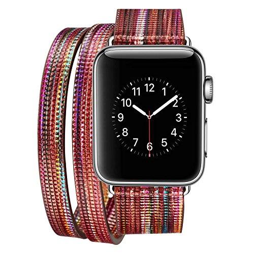 Qkldm Bracelet pour Apple Watch 38mm, Cuir PU Bracelet de Rechange avec Acier Inoxydable Boucle de Ceinture Cuir Watch pour Apple Watch 38mm série 1/2/3 (/*90) (6)
