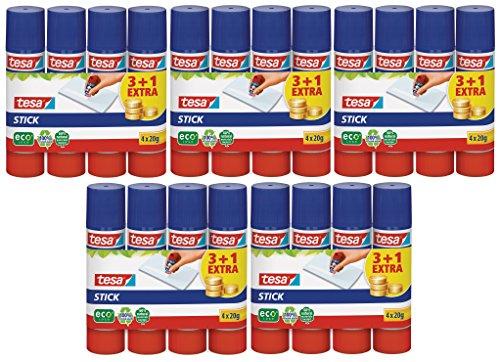 20x tesa Klebestift, rund, ökologisch, 3+1 gratis, 20g | 5x4 Sticks (5, 20g | 4er Pack)
