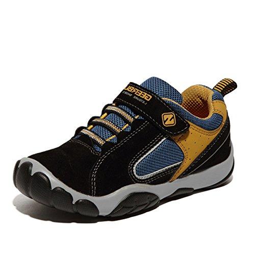 SAGUARO Jungen Trekking Wanderschuhe Kinderschuhe mit Klettverschluss Leicht Sport Schuhe Outdoor Laufschuhe Mädchen Turnschuhe Sneaker, Schwarz 35