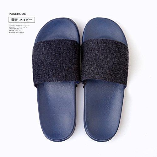 DogHaccd pantofole,Estate Home antiscivolo morbida pantofole studentesse in aria condizionata soggiorno al coperto gli amanti di colore solido pantofole maschio Blu scuro4