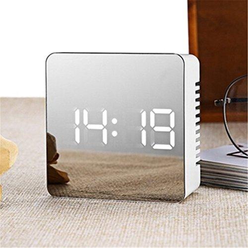Naisicatar 2018 - Reloj despertador LED con pantalla digital, portátil, moderno, con alarma, fecha, hora, reloj para dormir fuerte, dormitorio, oficina, viajes (cuadrado)