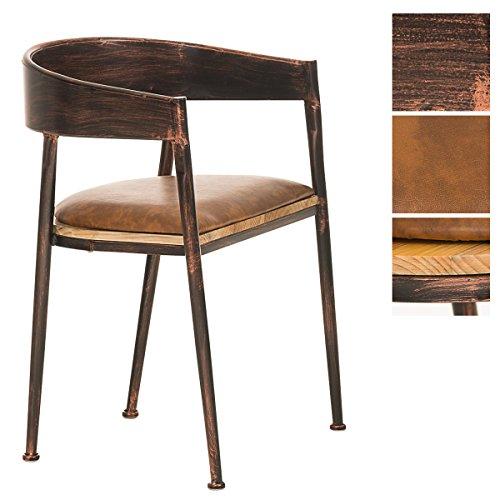 CLP Silla bar retro BELVEDERE, look industrial, vintage, mezcla de materiales de madera y metal, ideal para gastronomía bronce