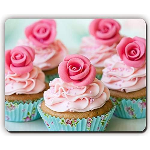 high quality mouse pad,dish muffins roses cream dessert,Game Office MousePad size:260x210x3mm(10.2x 8.2inch) Rose Muffin