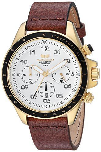 Vestal 'ZR2' Quartz Stainless Steel and Leather Casual Watch, Color:Brown (Model: ZR243L28.BR)