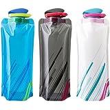 WINGONEER 3pcs 0.7L verde nueva plegable de la botella de agua de la taza de la caldera al aire libre al aire libre de viajes de picnic