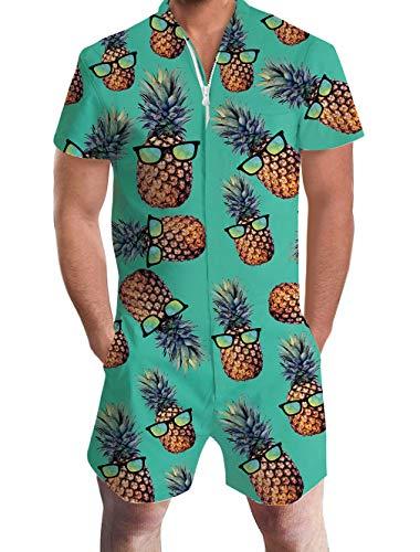 ALISISTER Onepiece Jumpsuit Herren Grün Sommer Overalls Strampler Herren Sommer Jumpsuits Kurz für Männer mit 3D Brille Ananas Drucken L