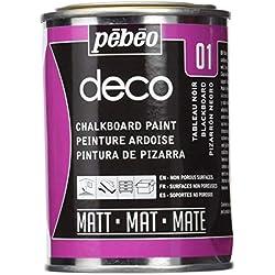 Pébéo - Deco Ardoise 250 ML Tableau Noir - Peinture Pébéo Ardoise - Peinture Acrylique Tableau Noir Ardoise Murale - Peinture Ardoise Craie Pour Tableau Noir Multisurface - 250 ml - Noir
