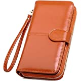Skudgear Long Bi-Fold Zipper Wallet Large Capacity PU Leather Clutch Women's Wristlet