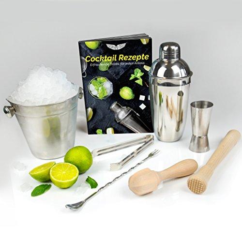 Cocktailshaker komplett Set zum Mixen mit viel Zubehör: Profi Shaker + Messbecher + Barlöffel + Eiskübel + Barzange + Stößel + Zitronenpresse + Rezeptbuch