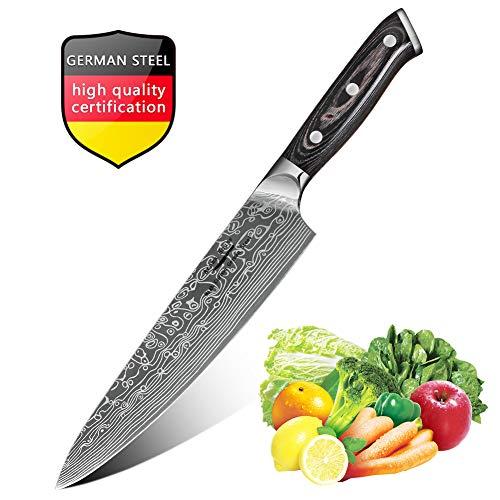 Cuchillo Chef de 20cm, Cuchillos de Cocina con Cuchillo de Damasco, Cuchillo de Frutas y Verduras de Carne, Mejor Cortador de Alimento para el Hogar y la Cocina, Mango Pakkawood Ergonómico