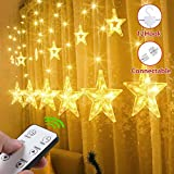LED String Lights, GlobaLink 12 Stelle Curtain Garland Lights 2.2M 108ledes 8 modalità Luce IP44 Impermeabile Tenda Luci Decorazione Festa di Natale Nozze Compleanno Camera da letto Home-Warm White