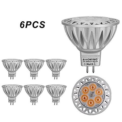 BAOMING MR16 12V LED Glühlampe 7 Watt GU5.3 Sockel Aluminium Scheinwerfer 50W Halogenlicht Äquivalent 560LM 38 ° Deg Warmweiß 3000K Standardgröße Einbauleuchten Strahler 6er