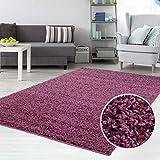 carpet city Teppich Shaggy Hochflor Langflor Flokati Einfarbig/Uni aus Polypropylen in Lila für Wohn-Schlafzimmer, Größe: 160x220 cm