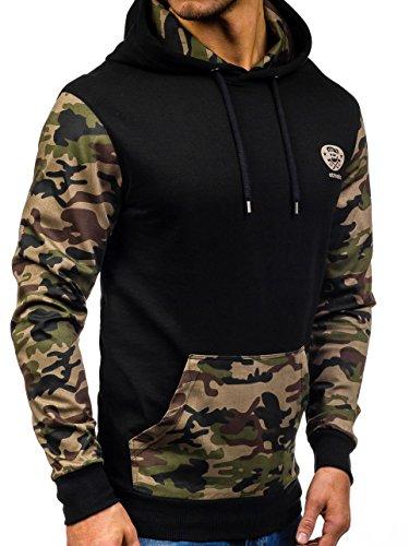 BOLF Herren Sweatshirt Pullover mit Kapuze mit Kordel Top AK72 Schwarz_0410