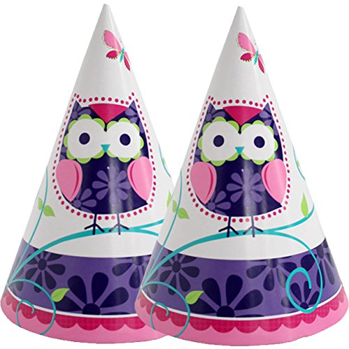 8 Partyhütchen * TRENDY EULEN * für Kindergeburtstag und Motto-Party // Kinder Geburtstag Owl Eule Motto Party (Eule Hats)
