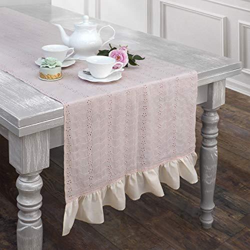 AT17 Tischläufer, Tischdecke, Deckchen Läufer Bestickt Landhaus Shabby Chic - Rüsche Volant/Sangallo Spitze - 50x150 - Pfirsich/Aprikose - 100% Baumwolle -