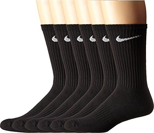 Nike Herren Unisex Laufsocken (6 Paar) U NK PERFORMANCE CUSHIONION CREW 6PR - BAG, Schwarz/Weiß, M, SX5171-010 (Socken 6 Crew Athletic Paar)